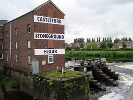 Queen's Mill, Castleford. Built in 1888, it was the World's biggest stone-grinding flour mill, closing in 2010. Now operated by the Castleford Heritage Trust.