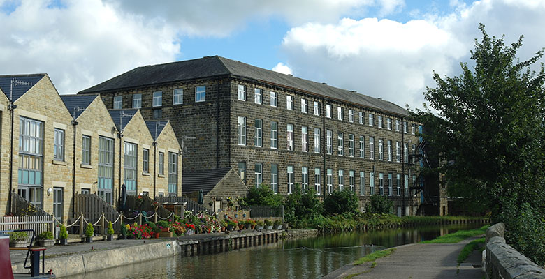 Waterloo Mills, c1870, Silsden, alongside the Leeds and Liverpool Canal.